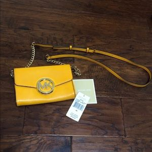 MK Leather Yellow Crossbody Wallet Purse